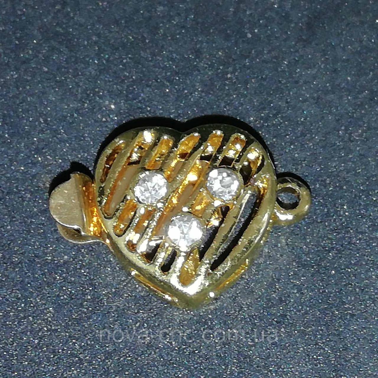 """Застібка для бус і намист """"Серце"""" 17 х 12 мм колір золото"""