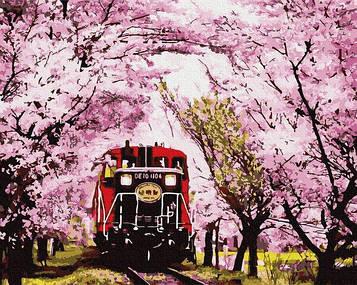 Картина по номерам 40х50 см Brushme Поезд в весну (GX 30098)