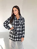 Женская байковая рубашка оверсайз черно-белая