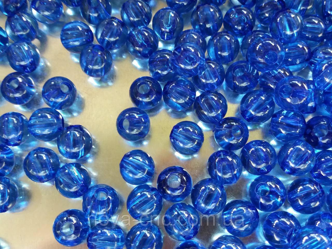 """Намистини акрил """"Куля гладкий"""" синій 9 мм 500 грам"""