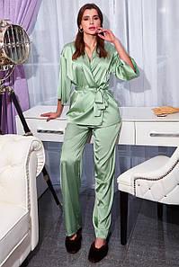 Женская шелковая брючная пижама с блузкой на запах (Лионе jd)