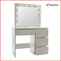 Cтолик косметический с зеркалом и подсветкой белый Bonro B-071 Стол туалетный с выдвижными ящиками