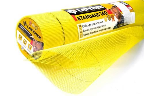 Сітка скловолок. армуюча Latymer Standard 140, 5х5, 1х50м жовта