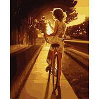 Картина за номерами Велопрогулянка на заході 40х50 Brushme (Без коробки) расскраска за номерами