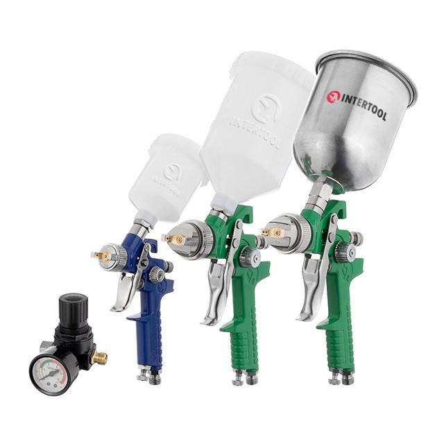 Набор из 3-х краскопультов HVLP, 0,8мм, 1,3мм, 1,7мм, регулятор давления, два пластиковых и один металлический