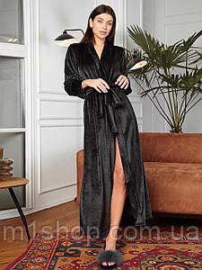 Женский длинный однотонный велюровый халат (Юнти jd)