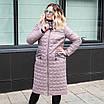Парку жіноча куртка демісезонна великого розміру 50-60 темно-синій, фото 3