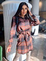 Стильное платье рубашка с пуговицами и поясом байка, фото 2