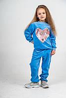 Костюм детский велюровый голубой с сердцем из пайеток