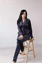 Комплект женский для сна V.Velika велюровый - халат + штаны серо-синий  XL