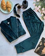 Комплект женский для сна V.Velika велюровый - халат + штаны изумрудный  XХL