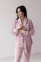Комплект женский для сна V.Velika велюровый - халат + штаны пудра  S