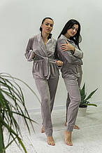Комплект женский для сна V.Velika велюровый - халат + штаны светло-серый  S