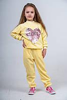 Костюм детский велюровый желтый с сердцем из пайеток
