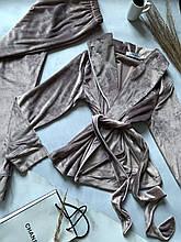 Комплект женский для сна V.Velika велюровый - халат + штаны серый  L