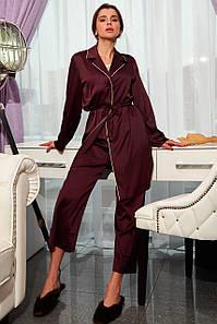 Женский шелковый комплект для сна с длинной блузкой (Бонна jd)