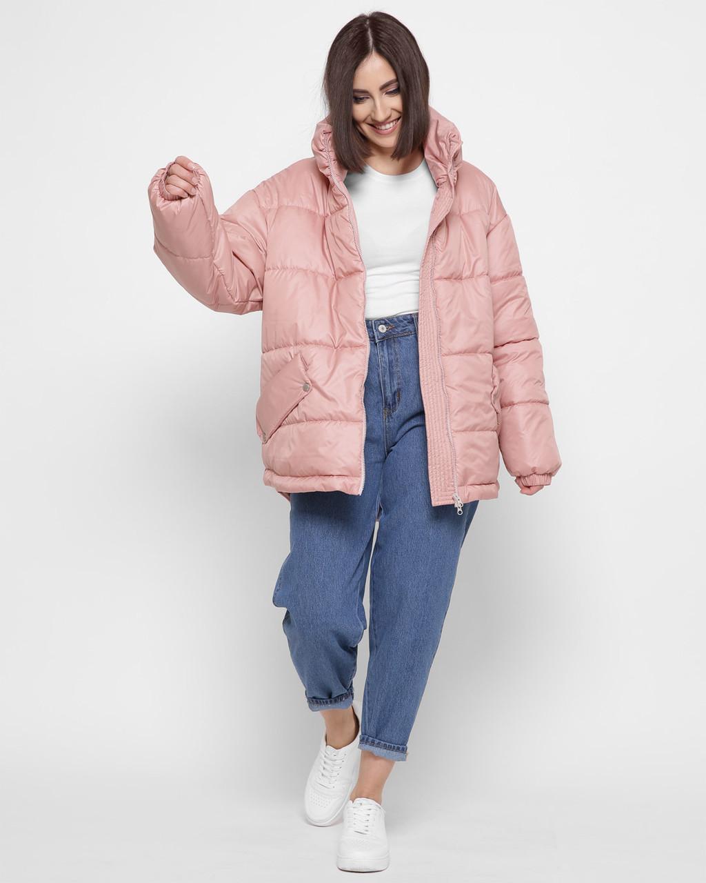 Женская пудровая демисезонная куртка оверсайз X-Woyz