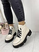 Женские ботинки бежевые, женская обувь весна- осень