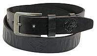 Мужской кожаный ремень под джинсы Skipper 1007-38 черный ДхШ: 132х3,8 см.