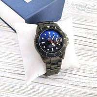 Часы мужские наручные кварцевые металлические классические Rolex Submariner 6478 Black-Black-Blue