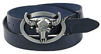 Ремень мужской кожаный с бляхой Буйвол Buffalo Wild синий