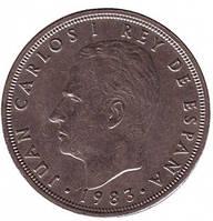 Хуан Карлос I. Монета 50 песет. 1983,82 год, Испания. (Г)