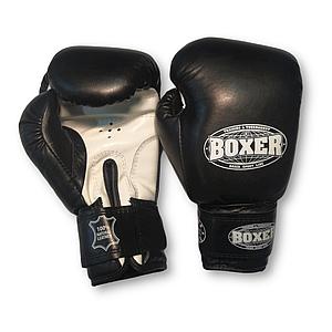 Перчатки бокс 14 оz кожа Элит, черные BOXER