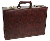 Чоловічий дипломат-кейс з еко шкіри 4U Cavaldi коричневий, фото 1