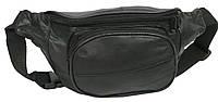Кожаная поясная сумка, бананка Cavaldi 903-353 черная