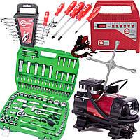 Набор автомобилиста 6в1 INTERTOOL набор инструментов 108 ед. ET-6108SP, набор ключей 12 шт HT-1203, набор