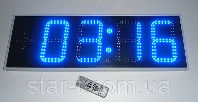 Часы термометр календарь уличные синие
