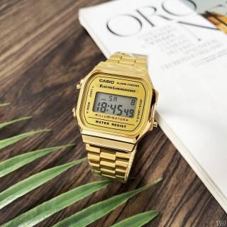 Часы мужские наручные кварцевые металлические классические электронные Casio Illuminator F-91W Gold New