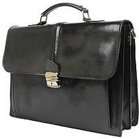 Невеликий чоловічий шкіряний портфель Tomskor чорний, фото 1