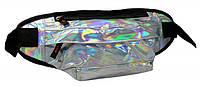 Голограмная поясная сумка из кожзама Loren SS112 серебристая