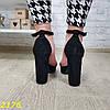 Босоніжки класика замшеві на широкому товстому каблуці з платформою чорні, фото 6