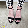 Босоножки классика замшевые на широком толстом каблуке с платформой черные, фото 7