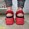 Червоні босоніжки на високій платформі з ремінцями, фото 5