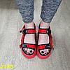 Червоні босоніжки на високій платформі з ремінцями, фото 6