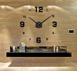 """Часы настенные 3D """"DIY CLOCK"""" с цифрами от 60 до 120см Black"""