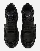 "Черевики Dolce & Gabbana Mixed material trekking shoes with logo ""Чорні"", фото 2"