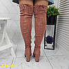 Ботфорти чоботи панчохи демисезон пудрові замшеві на широкому зручному каблуці, фото 7
