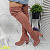 Ботфорти чоботи панчохи демисезон пудрові замшеві на широкому зручному каблуці, фото 5