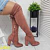 Ботфорти чоботи панчохи демисезон пудрові замшеві на широкому зручному каблуці, фото 3