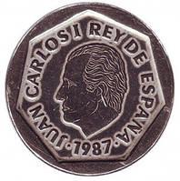 Хуан Карлос I. Монета 200 песет. 1987 год, Испания.(Г)