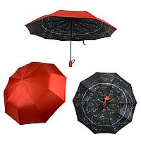 """Однотонный зонт-полуавтомат """"Звездное небо"""" от фирмы """"Bellissimo"""", красный, 19302-6, фото 1"""