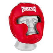 Боксерский шлем тренировочный PowerPlay 3068 PU + Amara Красно-Белый M
