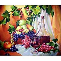 Холст-розмальовка по номерам 40*50 Винограда та вино