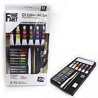 Фарби масляні 6кол 12мл алюм.тюб. + 12цв.масл.мелк + олівців. + Кисть + пласт.нож + ластик FineAr