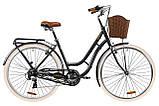 """Жіночий міський велосипед з багажником і кошиком DOROZHNIK CORAL AL VBR 28""""(чорний), фото 2"""