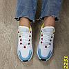 Кросівки на амортизаторах компенсаторах біло-блакитні, фото 7